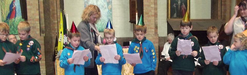 Cubs visit church